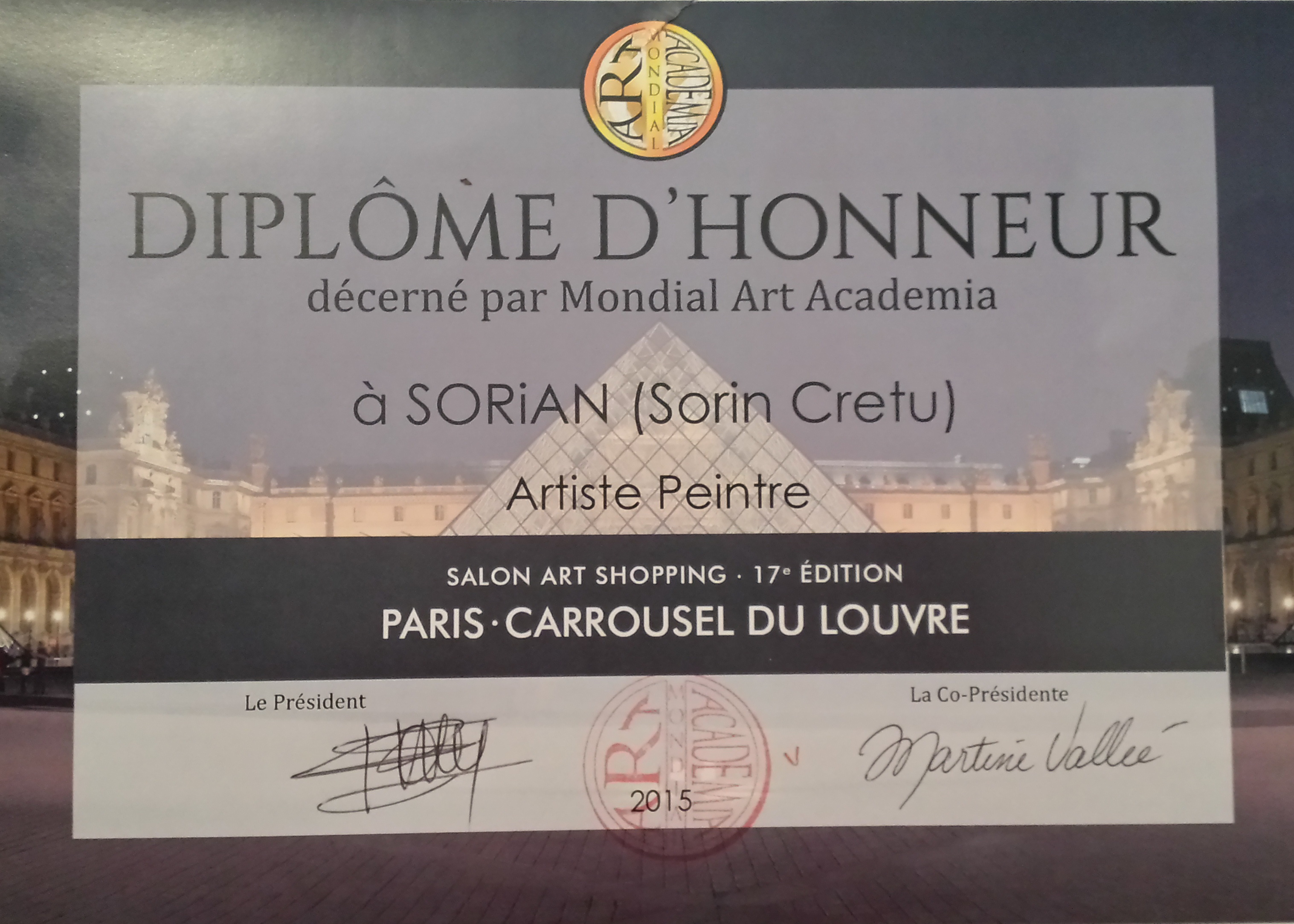 Honorary diploma - Carrousel du Louvre 2015.jpg