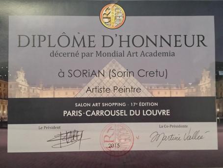 Diplôme d'honneur reçu au Salon Art Shopping, une exposition d'art contemporain qui a eu lie