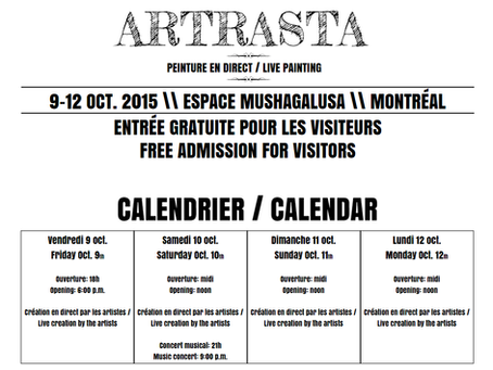 ARTRASTA - Friday October 9th to Monday, October the 12th, 2015