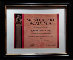 Mondial Art Academia - SORiaN (Sorin Cretu) Recognition Certificate - August 201