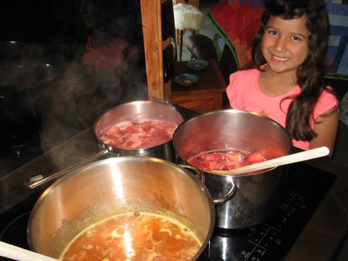 Making plum, apricot and strawberry jam