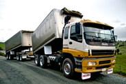 Double trailer tipper truck
