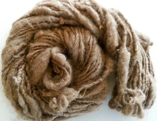 Hand Spun Natural Brown Finnsheep Thick and Thin Wool Art Yarn