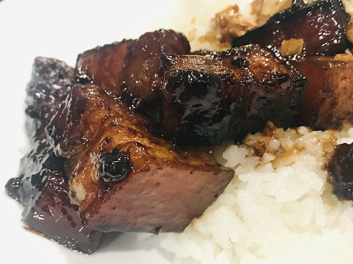 Dry Adobo: Caramelized Pork Belly over Rice