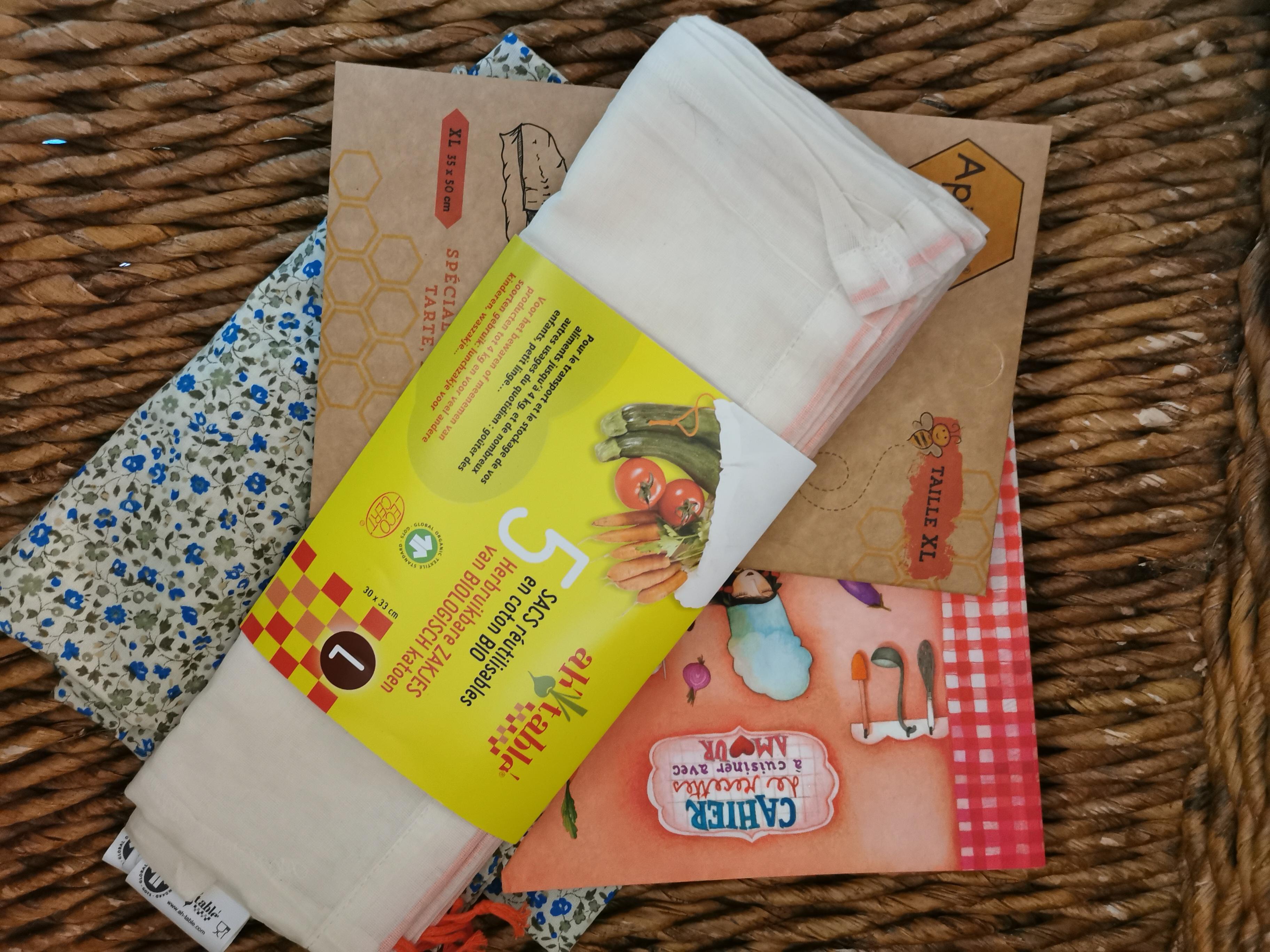 JE ME METS A LA CUISINE - 5 sacs à vrac, emballage beewrap, cahier de cuisine vierge, sac à pain - 2