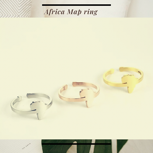 Africa Map Stainless Steel  Ring