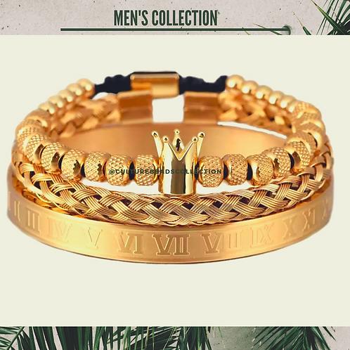 Gold Crown Bracelet Set of Stainless Steel