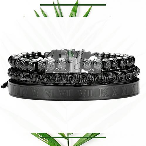 Royalty Black Bracelet Set of Stainless Steel