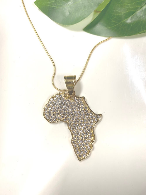 Africa Map with Stainless Necklace