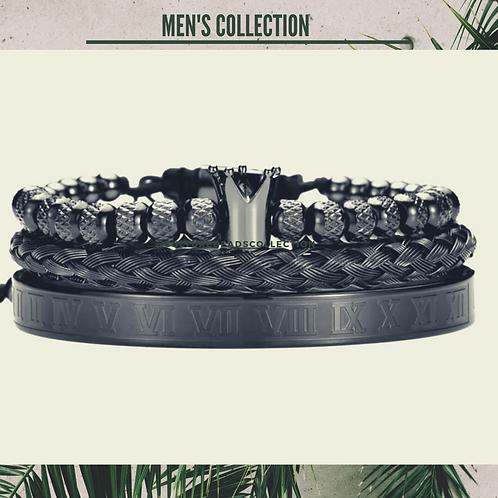 Black Crown Bracelet Set of Stainless Steel