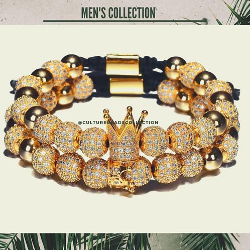Royal Crown Gold Men's Bracelet Set of 2