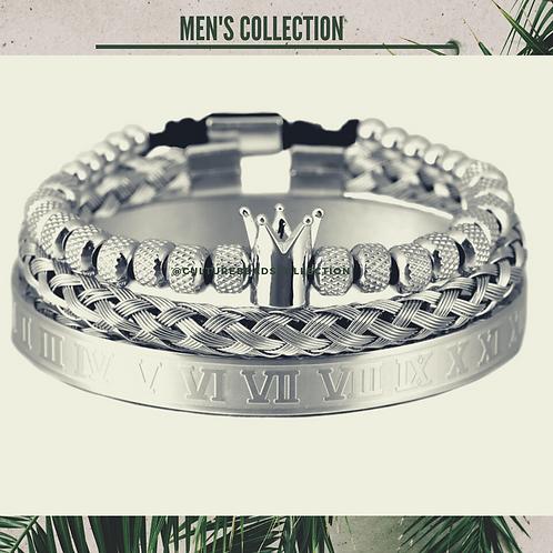 Silver Crown Bracelet Set of Stainless Steel