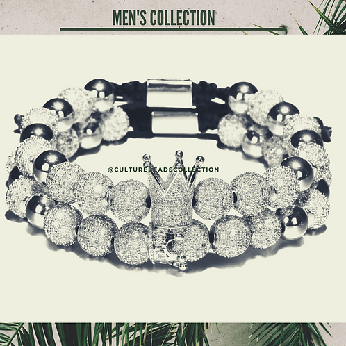 Royal Crown Silver Men's Bracelet Set of 2