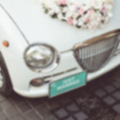 Wedding Get Away Vehicle With Just Married License Plate