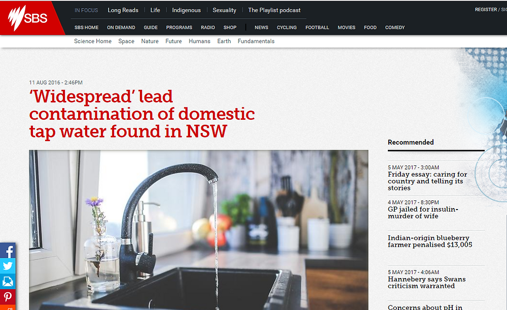 SBS Article about the contamination of domestic tap water in NSW