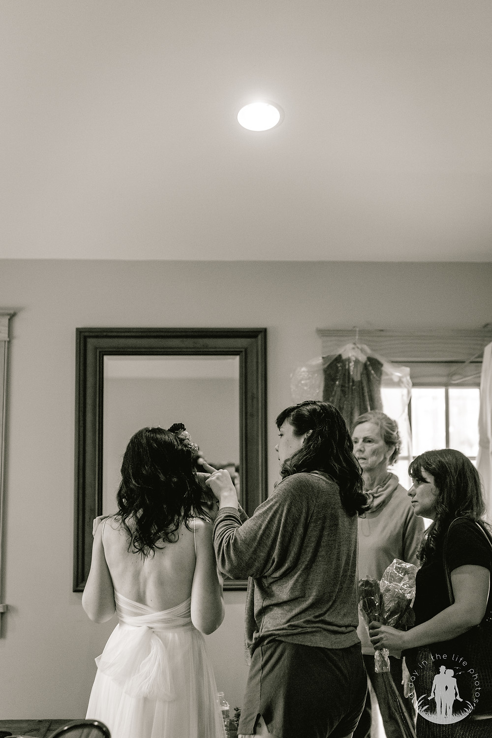 Bride getting ready in bridal suite at the Long Hill Farm in Callicoon New York a wedding venue located in upstate New York
