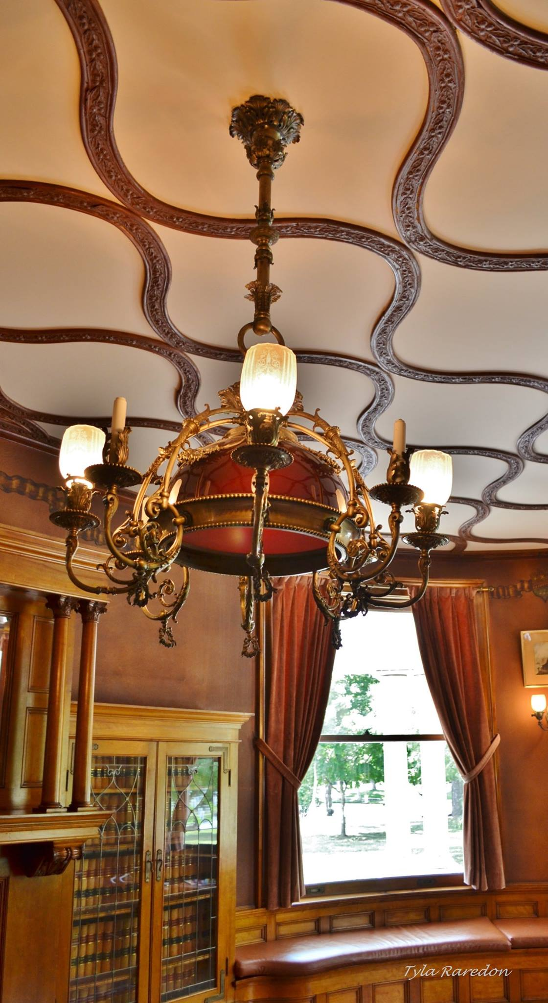 Library ceiling and chandelier