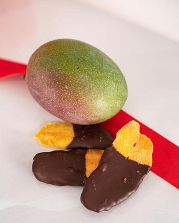Dark chocolate mango slices