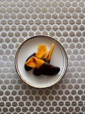 Chocolate covered mango slices