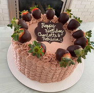 Wavy piping with chocolate covered strawberries