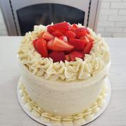 Garnished with fresh strawberries