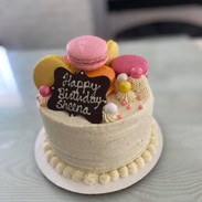 Garnished with macarons