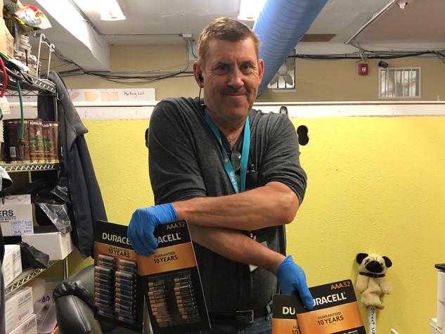 Rick, a Volunteer Donating Batteries