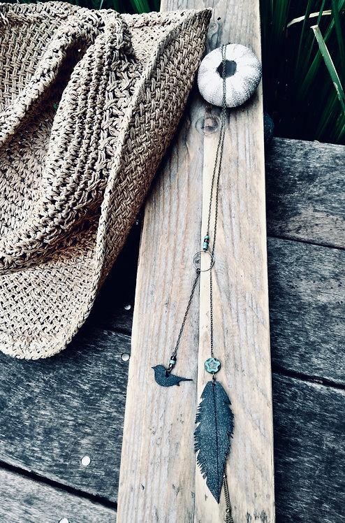 BOHÈME- Sautoir écharpe coulissant Plume
