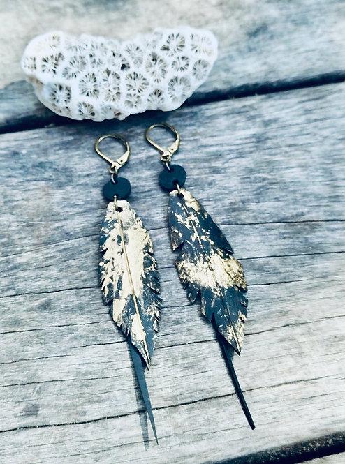 GOLDEE- Boucles d'oreilles Plume