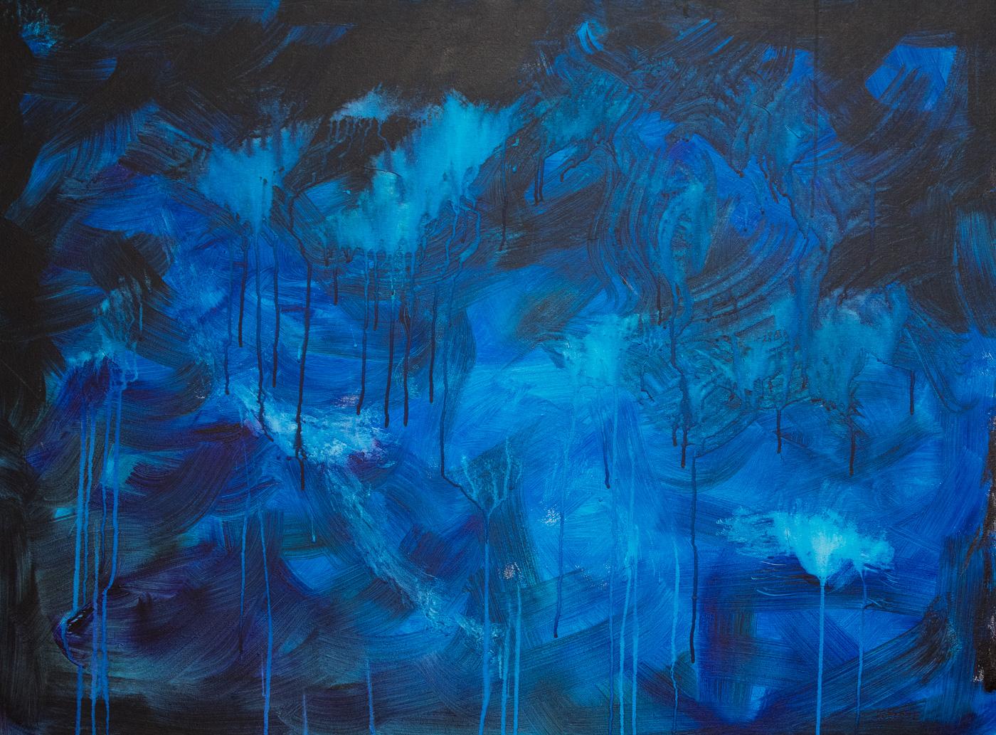 "Rhapsody in Blue 40""x30"" Acrylic"