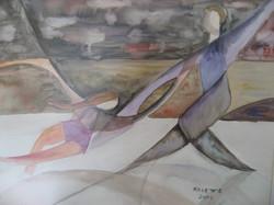 "Skaters 40""x30"" Framed Watercolor"
