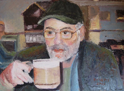 """Marty and Coffee 20"""" x 16"""" Oil"""