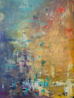 """Gold and Blue  30""""x 40"""" Acrylic"""