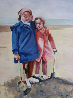Sisters in Knokke 22_ x 26_ Oil