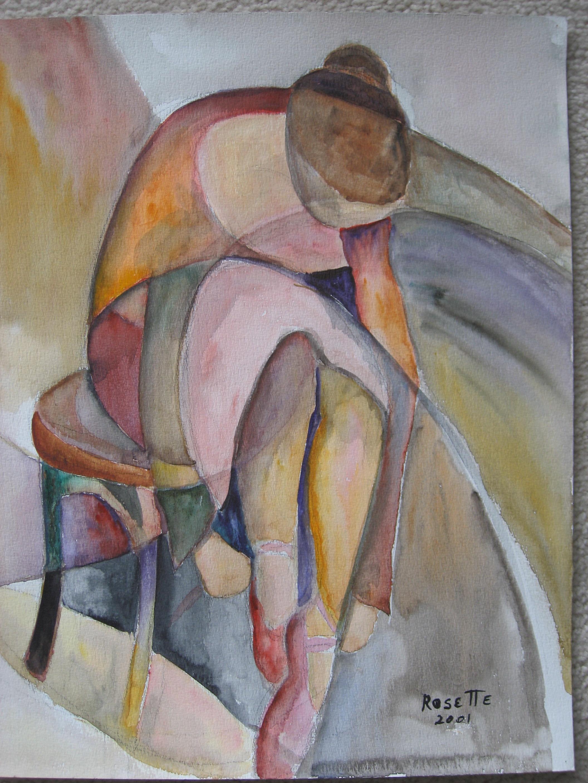 "Dancer 22""x26"" Framed Watercolor"