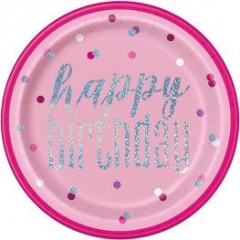 Happy Birthday Pink & Silver Glitz Paper Plates 8pk