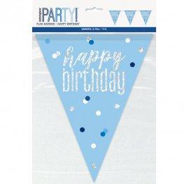 Blue & Silver Glitz Happy Birthday or Aged Flag Banner