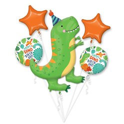 Dino Birthday all foil Balloon Bouquet
