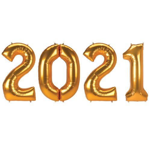 "2021 Gold Giant 34"" Numbers Helium Filled"