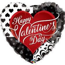 Valentines Supershape Foil Balloon Bouquet - GIANT BLACK & RED VALENTINE HEAR