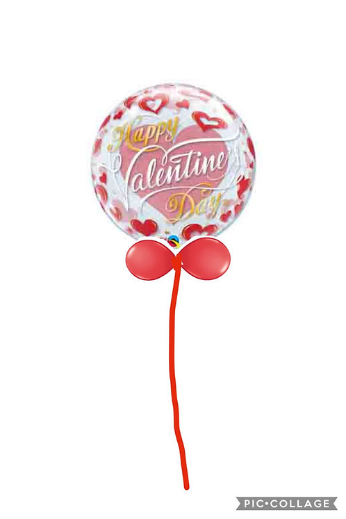 Large Bubble balloon finished with a balloon collar VALENTINE HEARTS