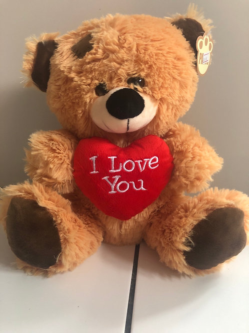I love you brown patchwork plush Bear 10inch
