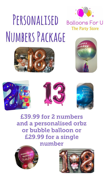 OPTION 2 - Personlised NUMBERS Package - DOUBLE DIGIT