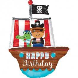 Pirate Ship Happy Birthday Supershape Balloon
