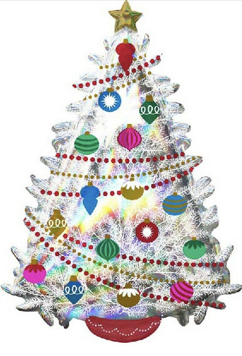 "Iridescent Christmas Tree 36"" Holographic Foil Balloon"