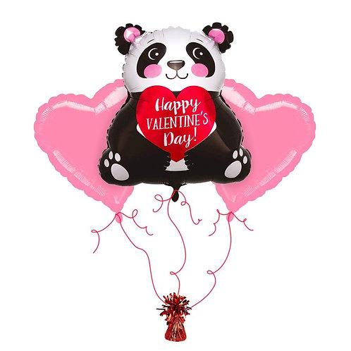 Valentine Supershape Foil Balloon Bouquet - Panda