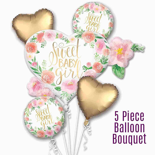 Sweet Baby Girl all foil balloon bouquet