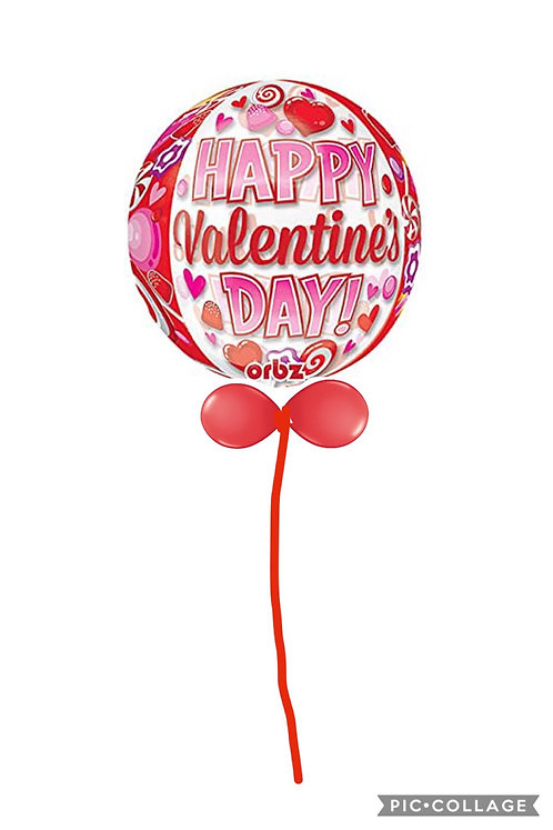Happy Valentines Day Large Orbz balloon finished with a balloon collar
