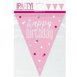 Pink & Silver Glitz Happy Birthday or Aged Flag Banner