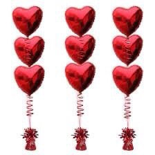 3 Red Heart Foil Balloon Bouquet